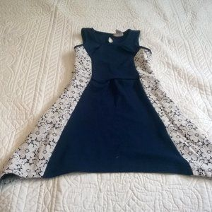 Navy Blue Dress With White Lace Detail